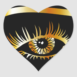 Golden eye with eyebrow and details inside heart sticker