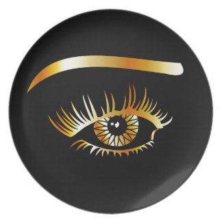 Golden eye with eyebrow and details inside plate