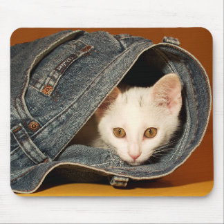 Golden-Eyed Kitty Jeans Mousepad