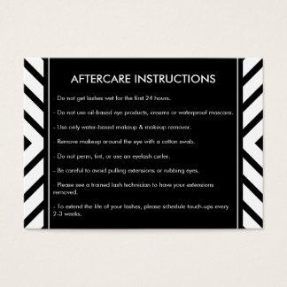 Golden Eyelashes Mod Pattern Salon Aftercare Card