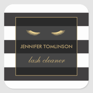 Golden Eyelashes with Black and White Stripes Square Sticker