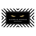 Golden Eyelashes with Mod Black and White Pattern Double-Sided Standard Business Cards (Pack Of 100)