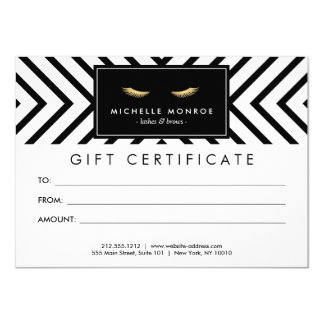 Golden Eyelashes with Pattern Gift Certificate Card