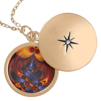 Golden Eyes, Abstract Amber Enchantment Round Locket Necklace