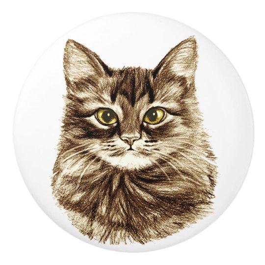 VINTAGE 2 KITTYS CATS HOME DECOR CERAMIC KITCHEN  KNOB DRAWER CABINET PULL