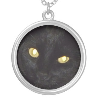 Golden eyes silver plated necklace