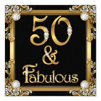 Golden Fabulous 50 Birthday Gold Diamond Card