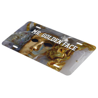 Golden Face License Plate