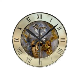 Golden Face Round Clock