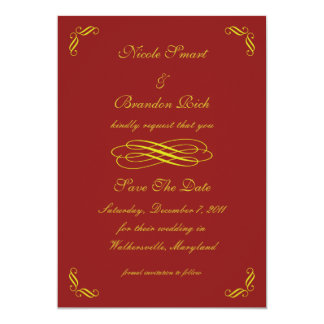 Golden Fairy Tale Save The Date (red) 5x7 Paper Invitation Card