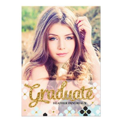 Golden Fake Glitter Senior Photo Graduation Custom Invitation