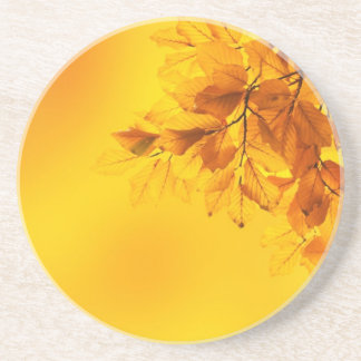 Golden Fall Leaves Background Drink Coasters