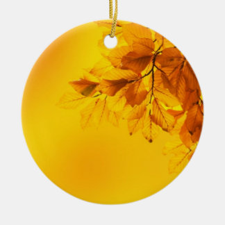 Golden Fall Leaves Background Ornaments