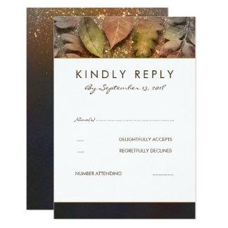 Golden Fall Leaves Wedding RSVP Card