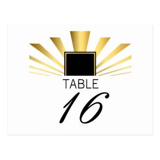 Golden Fan Art Deco Table Numbers Postcard
