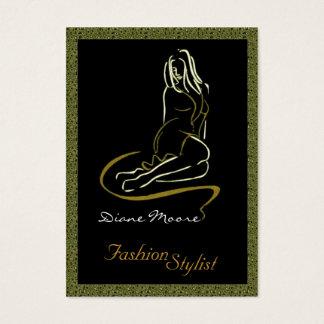Golden Fashion Stylist Business Card