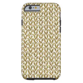 Golden Faux Glitter Chevrons Knit Pattern Print Tough iPhone 6 Case