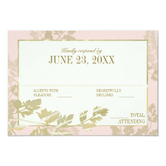 Golden Fern and Blush Ivory Response Card