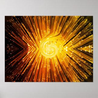 Golden fiber optic abstract. poster