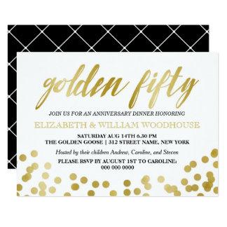 Golden Fifty Confetti   50th Anniversary Dinner Invitation