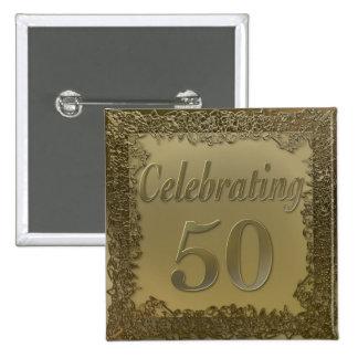 Golden Filigree 50th Celebration 2 Inch Square Button