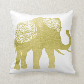 Golden Filigree Elephant Throw Pillow