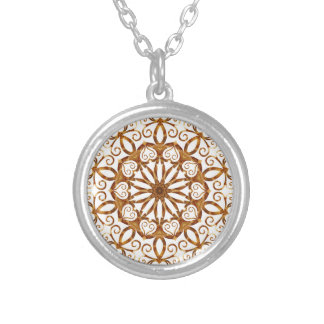 Golden filigree flake on white silver plated necklace