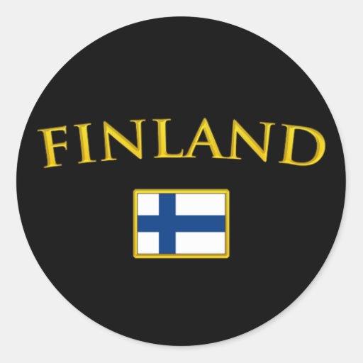 Golden Finland Round Stickers