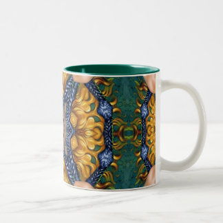 Golden Fire Blue Ropes Two-Tone Coffee Mug