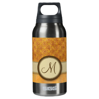 Golden Fire Coin Pattern with Monogram Insulated Water Bottle