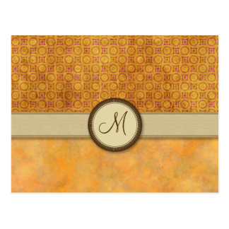 Golden Fire Coin Pattern with Monogram Postcard