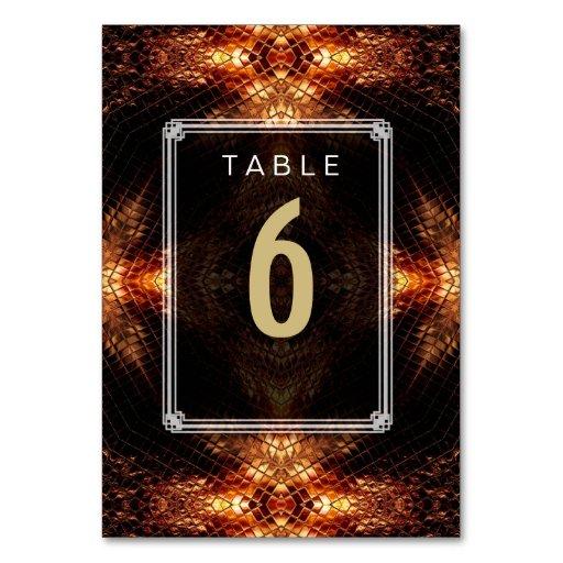 Golden Fire Wedding Menu Table Number Card