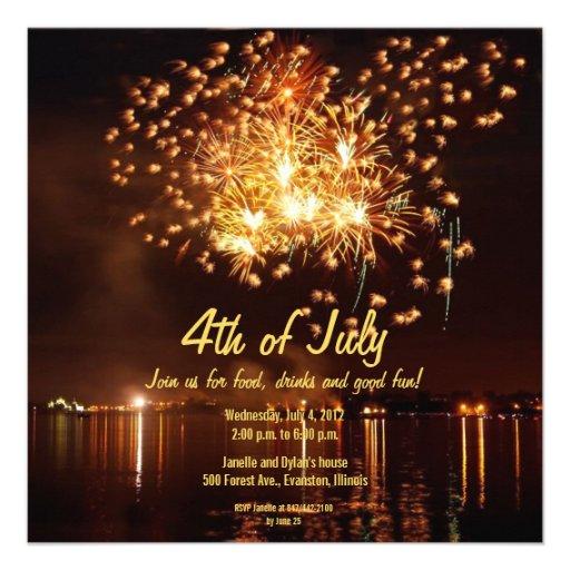 golden fireworks 4th of July invitation