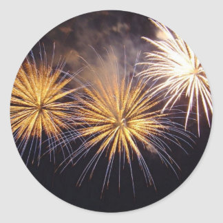 Golden Fireworks Classic Round Sticker