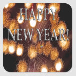 golden fireworks new year's square sticker