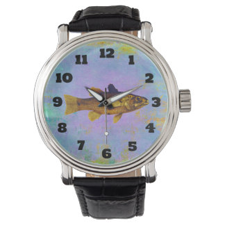 Golden Fish In Pen And Ink Vintage Design Wrist Watch