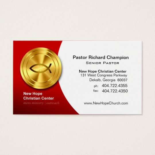 Golden Fish IXOYE Christian Symbol Minister/Pastor Business Card