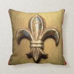 Golden Fleur-de-lis against Dark Red  - Customized Pillows