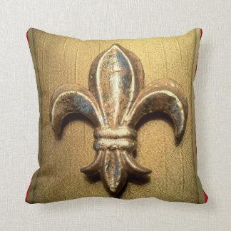 Golden Fleur-de-lis against Dark Red  - Customized Throw Pillow
