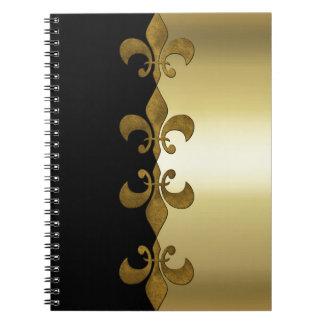 Golden Fleur-de-lis black golden custom monogram Spiral Notebook