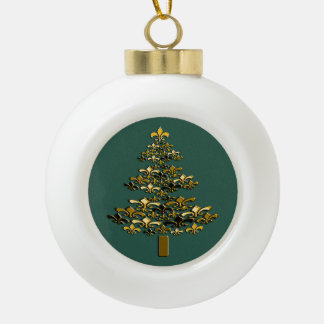 Golden Fleur de Lis Christmas Tree on Rich Green Ceramic Ball Christmas Ornament