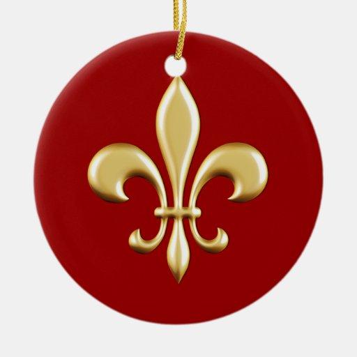 Golden Fleur De Lis Double-Sided Ceramic Round Christmas Ornament