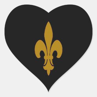 Golden Fleur De Lis Heart Sticker