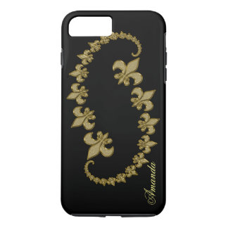 Golden Fleur-de-lis on black Custom Monogram iPhone 8 Plus/7 Plus Case