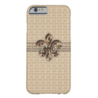 Golden Fleur De Lis with Cream Damask Pattern Barely There iPhone 6 Case