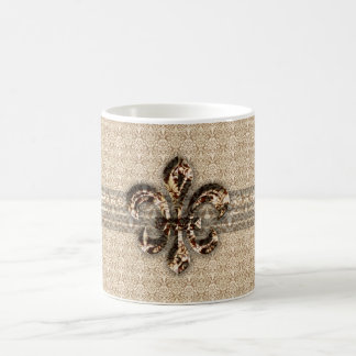 Golden Fleur De Lis with Cream Damask Pattern Coffee Mug