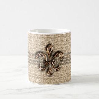 Golden Fleur De Lis with Cream Damask Pattern Coffee Mug