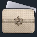 """Golden Fleur De Lis with Cream Damask Pattern Laptop Sleeve<br><div class=""""desc"""">Elegant cream colored damask pattern background with a chic trendy Fleur De Lis / Fleur De Lys embellishment.</div>"""
