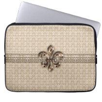 Golden Fleur De Lis with Cream Damask Pattern Laptop Sleeve