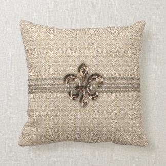 Golden Fleur De Lis with Cream Damask Pattern Pillow